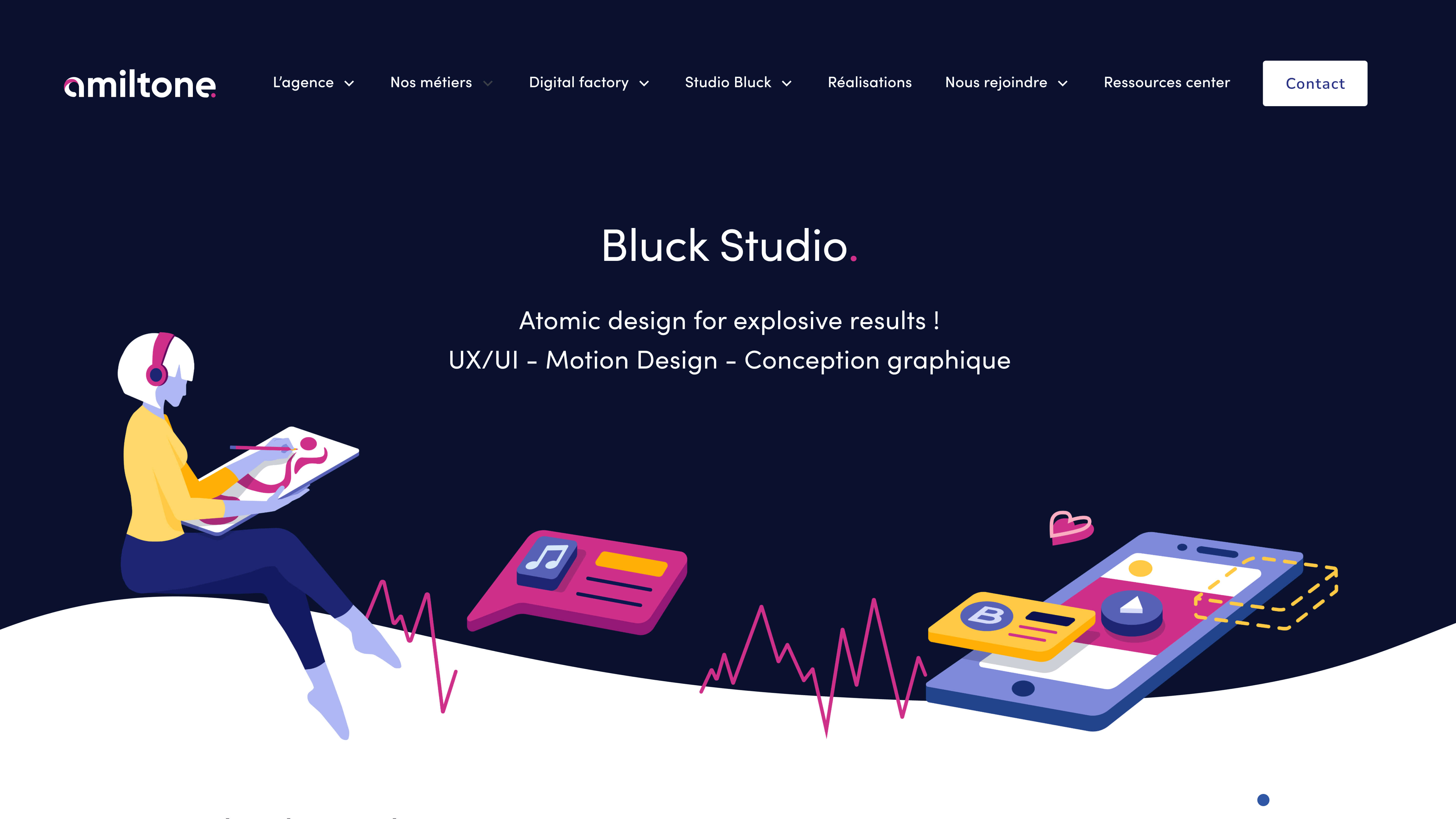 Web interface that illustrates the Bluck studio of the Amiltone agency