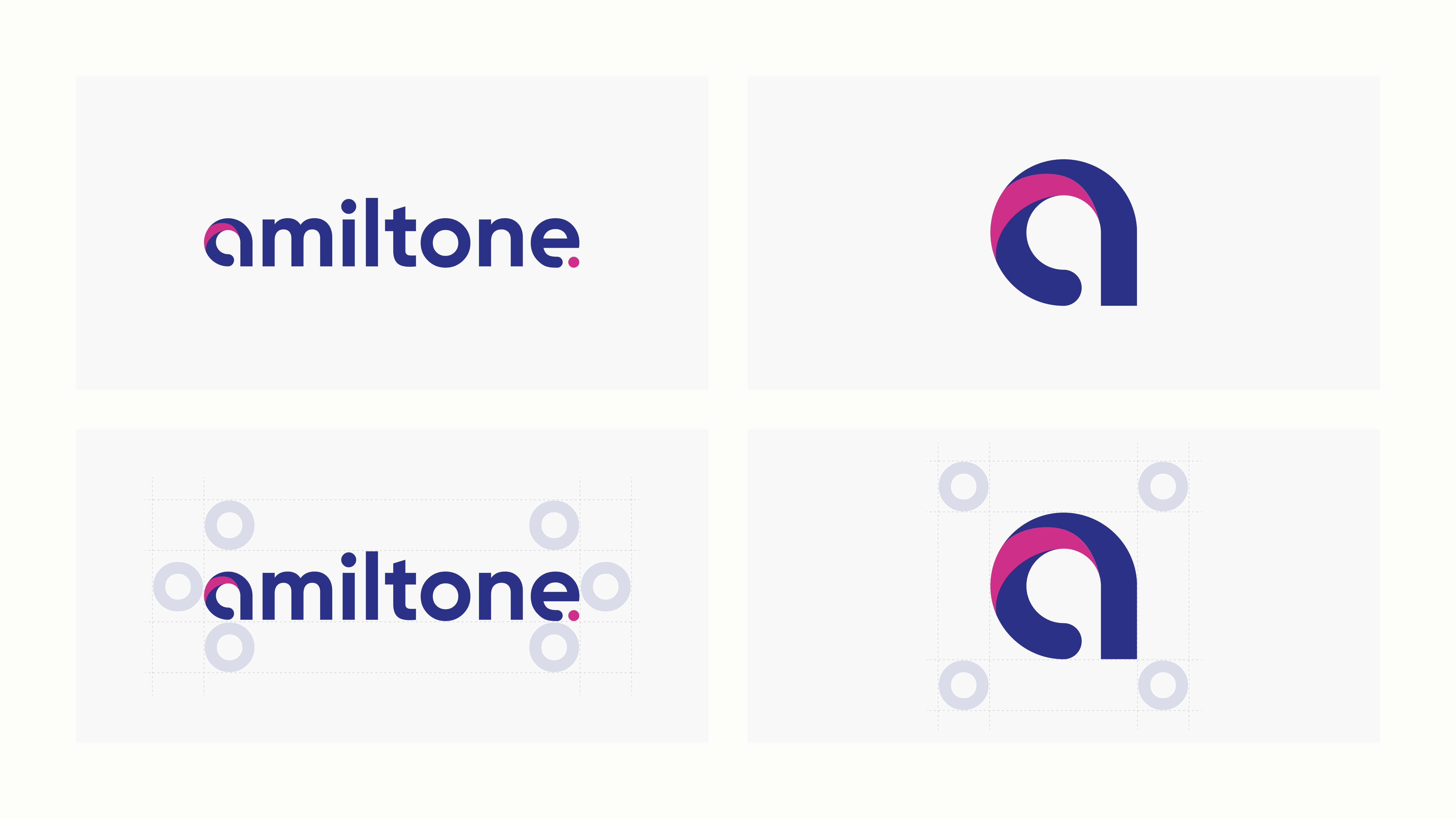 Image that highlights the logos designed for Amiltone and their anatomy