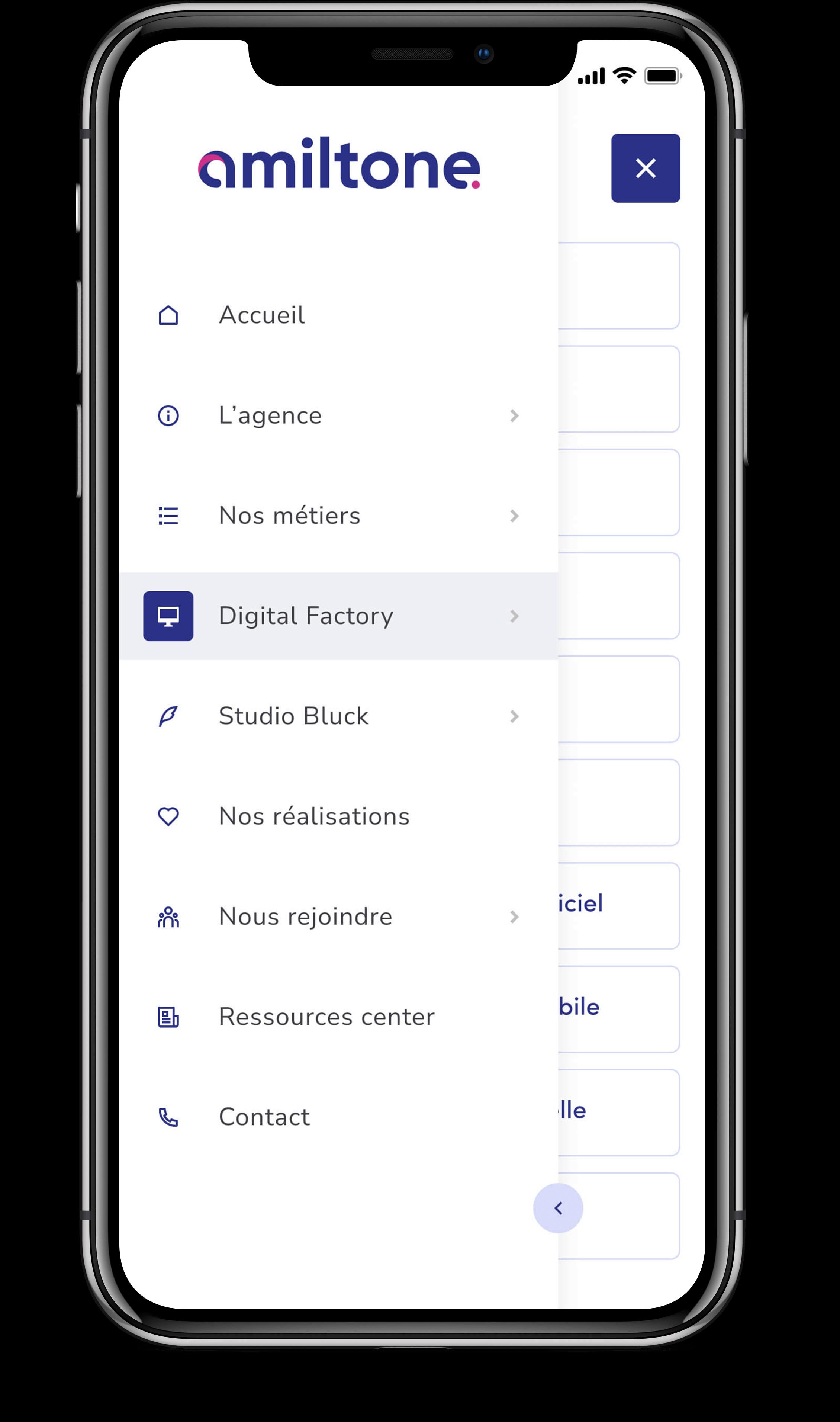 Écran mobile qui représente le menu de navigation en responsive