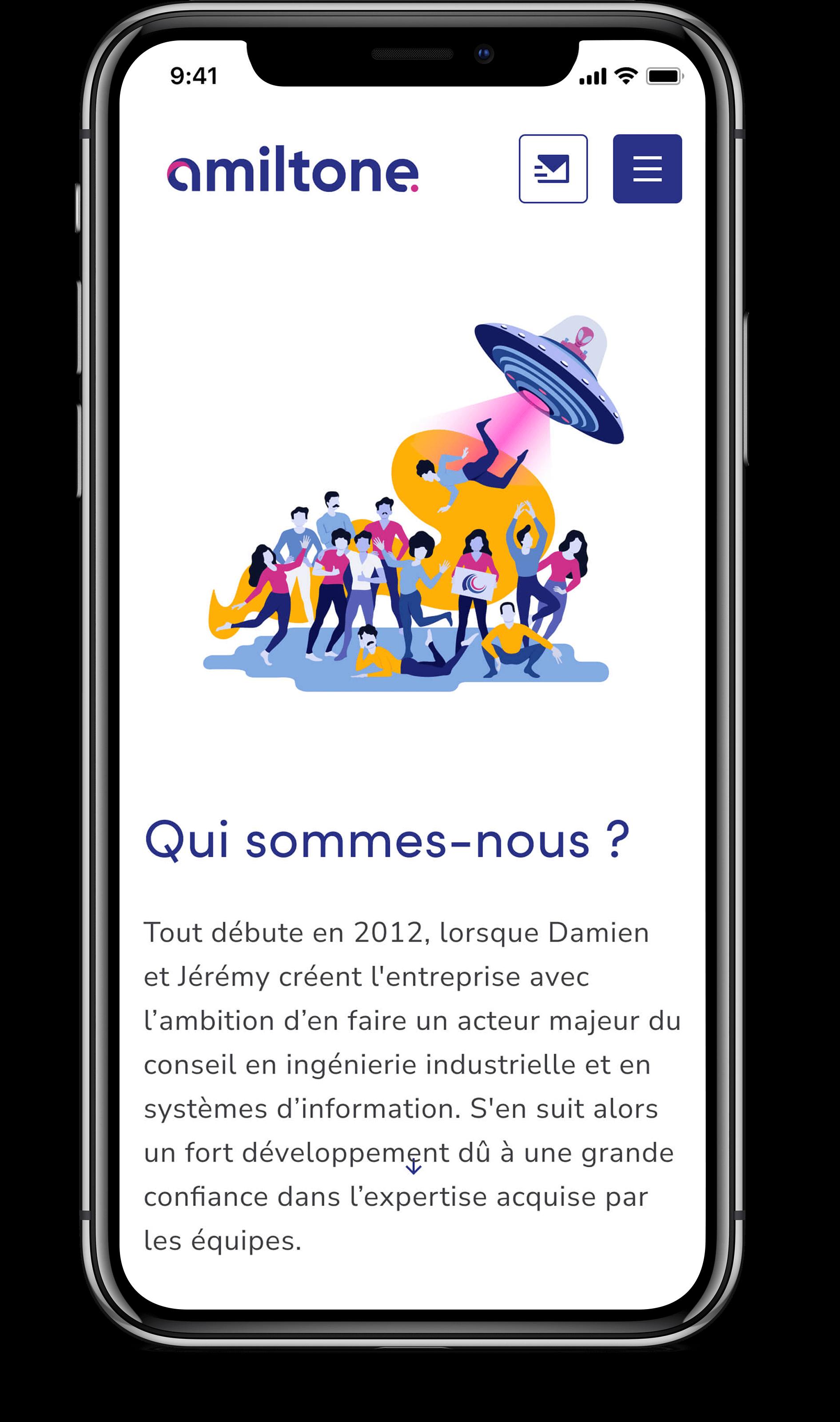 """Écran mobile qui introduit la page """"qui sommes-nous"""" d'Amiltone"""