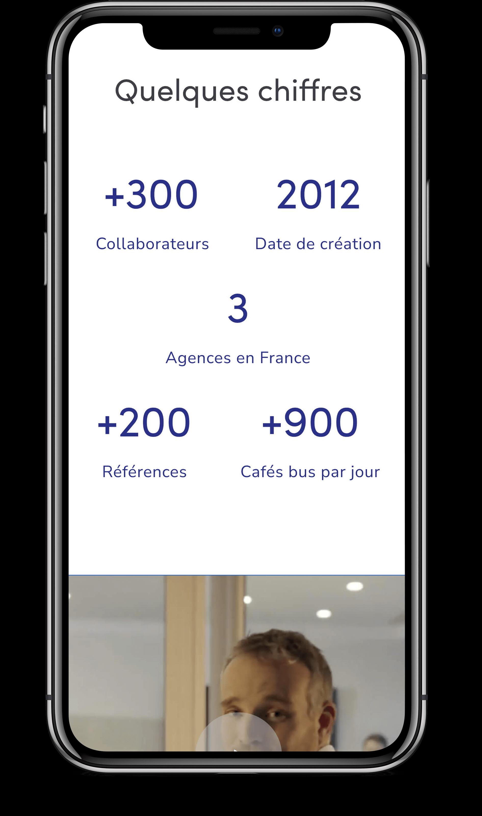 Écran mobile qui présente les chiffres clés de l'agence Amiltone