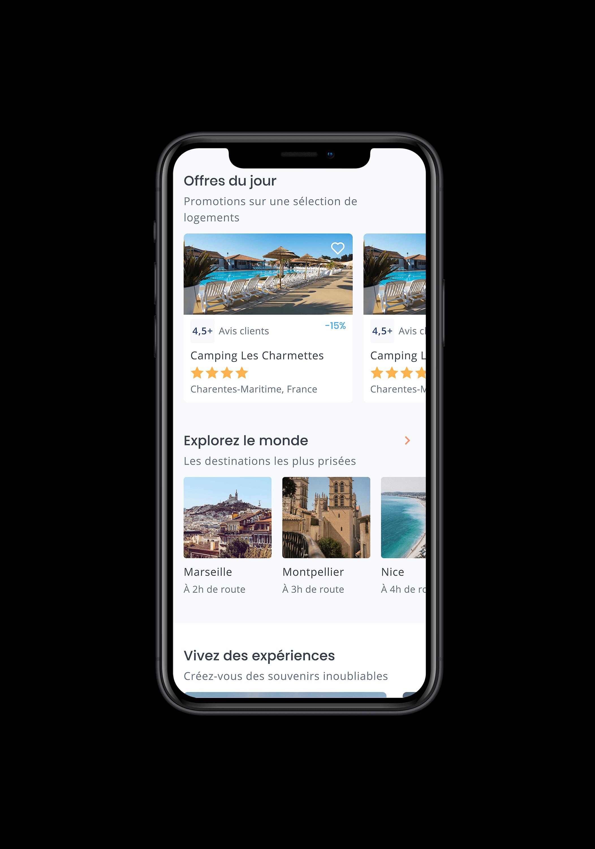 """Écran mobile d'Izicamp et sa section de recherche """"explorez le monde"""" et """"offres du jour"""""""