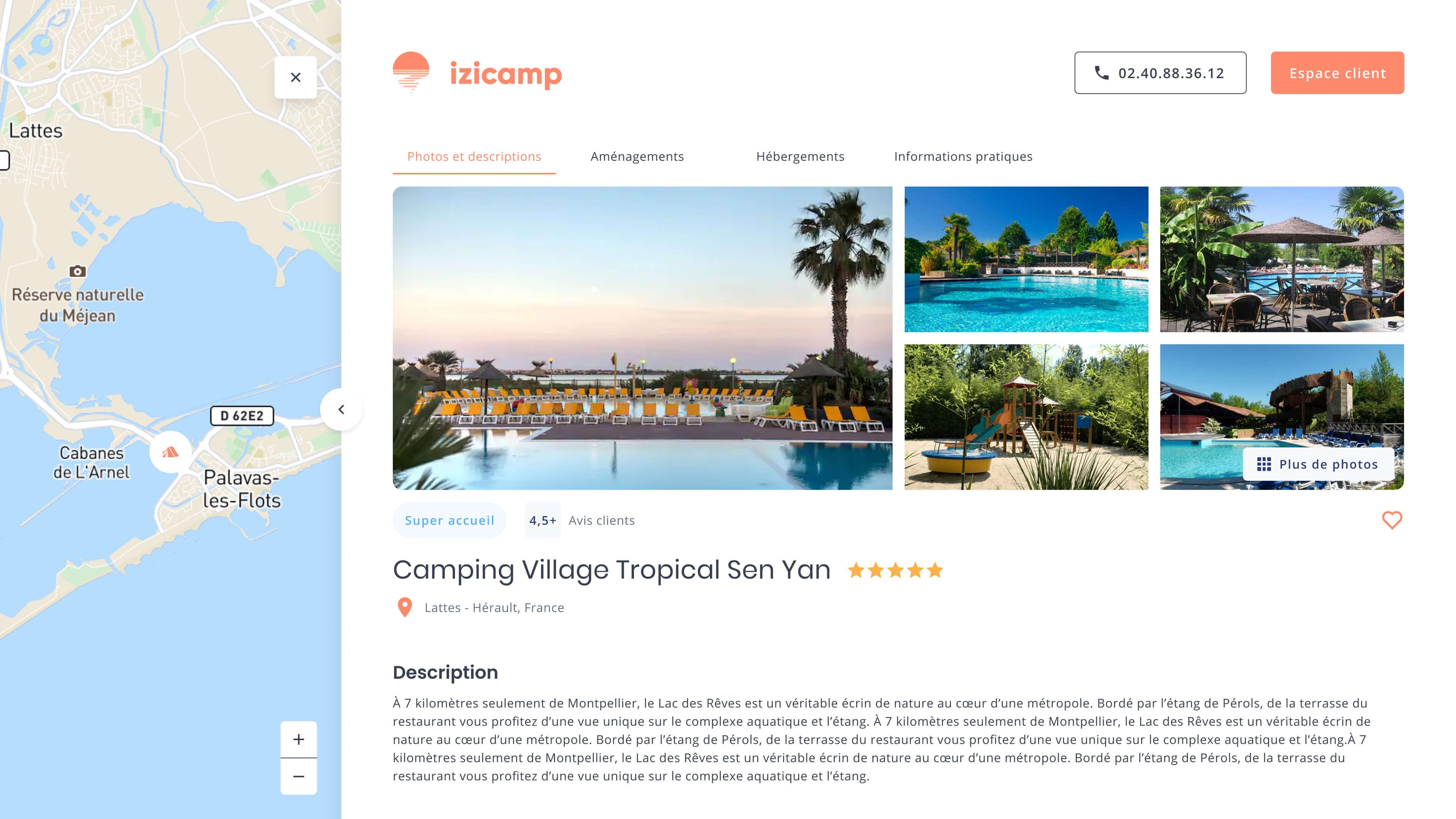 Écran web qui montre la page détaillant un hébergement d'Izicamp