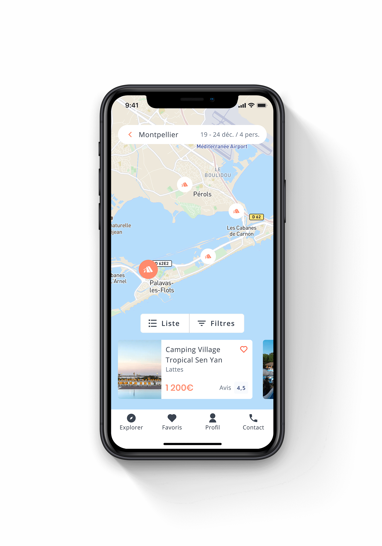 Écran mobile qui montre les résultats de camping sur une map
