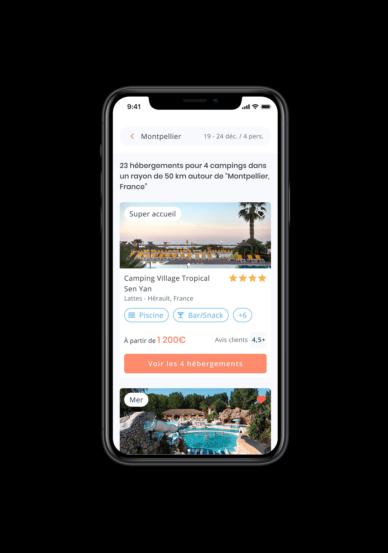 Écran mobile qui montre les résultats de camping sous forme de liste