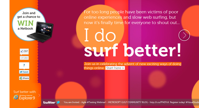 internet explorer launch campaign microsite