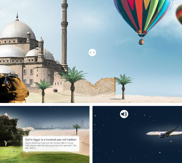 IE9 Journey to Egypt microsite mockup