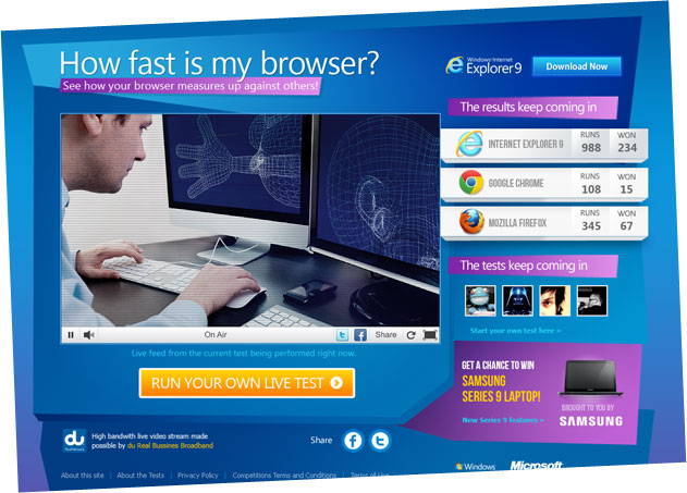 how fast is my browser microsite design
