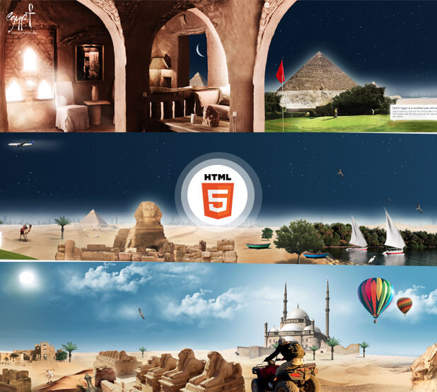 IE9 Journey to Egypt microsite screenshots