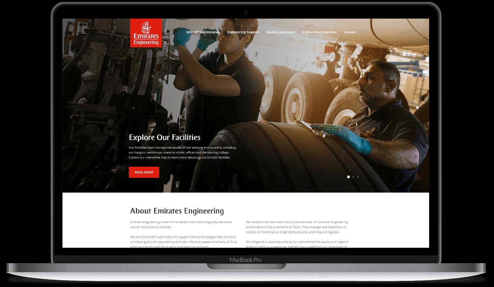 emirates engineering website mockup
