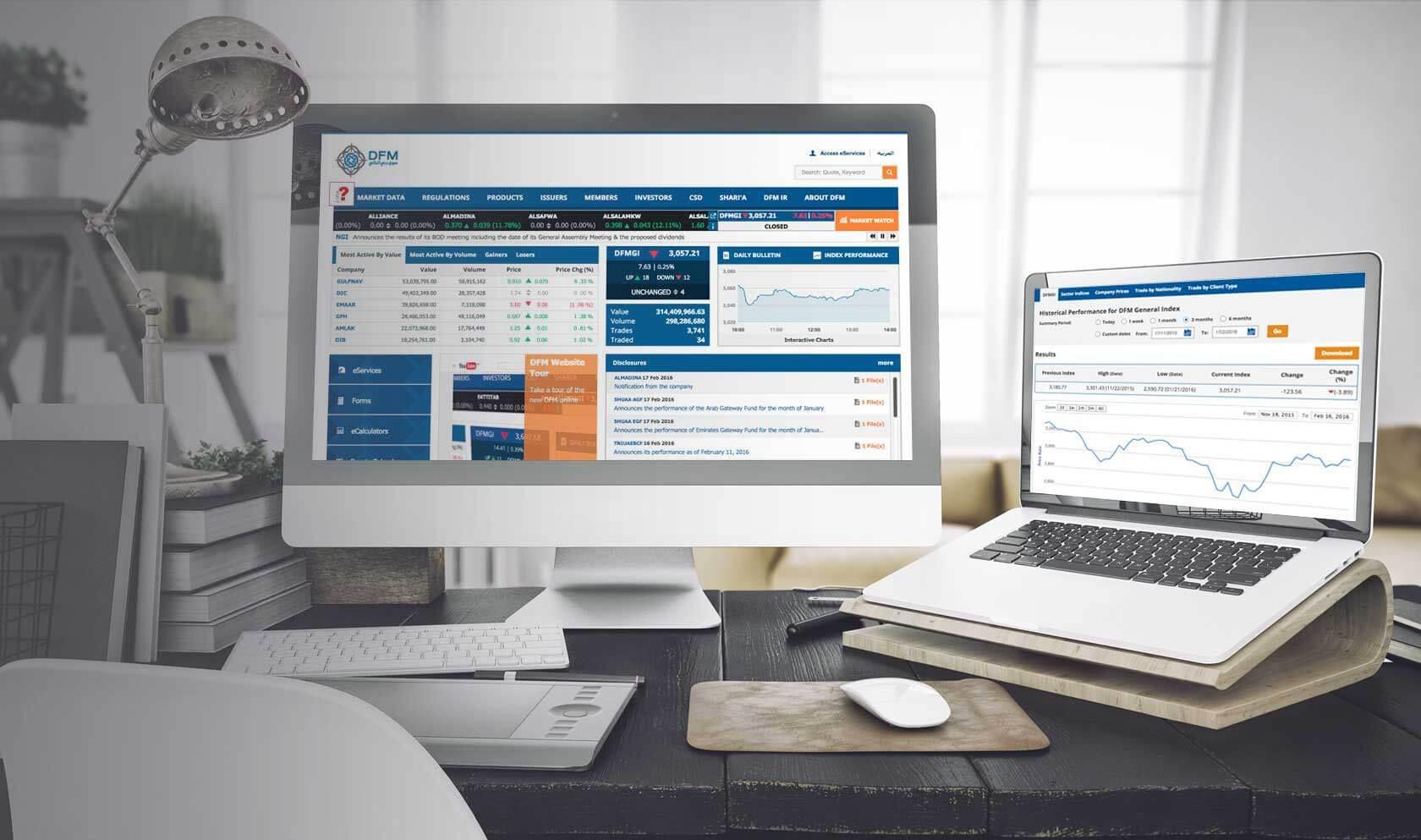 dubai financial market website case study banner