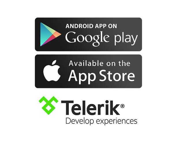 google play store, app store, telerik logos
