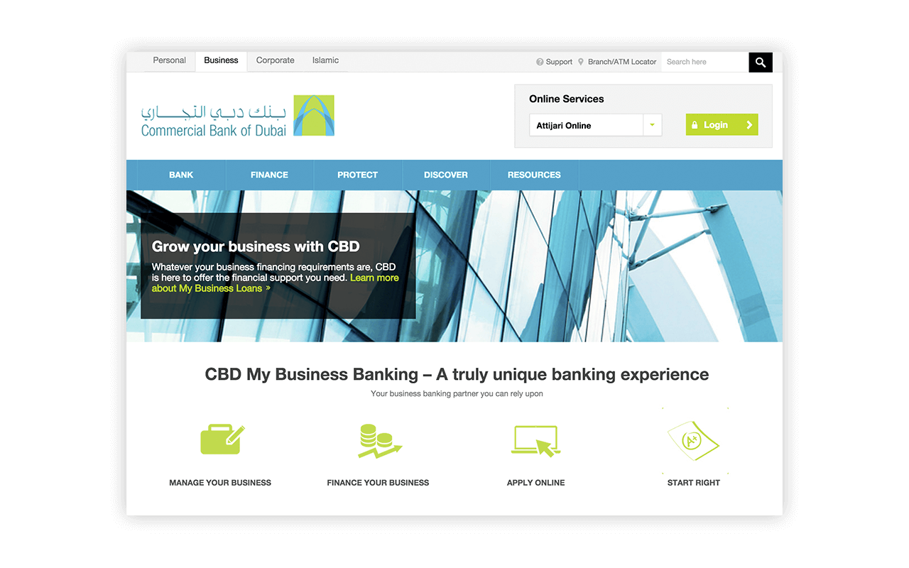 Commercial bank of dubai website UI design