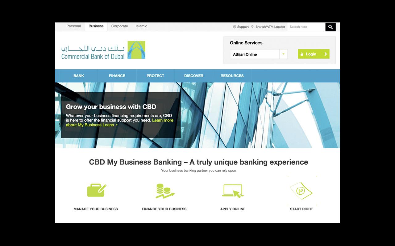 Commercial bank of dubai website UI design