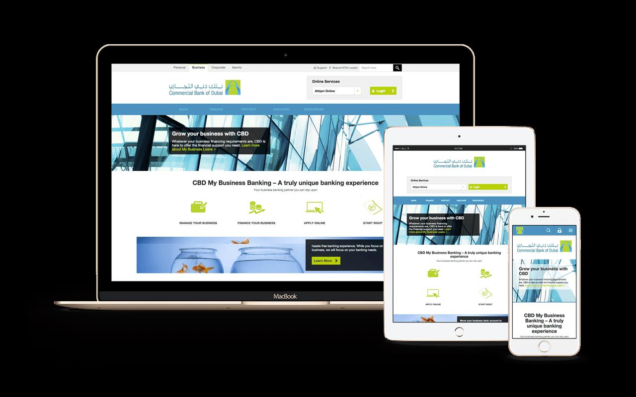 commercial bank of dubai website mockup
