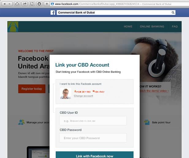 CBD Facebook banking app UI design