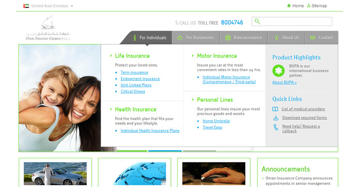 oman insurance website design