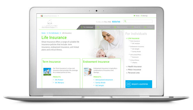 oman insurance website mockup