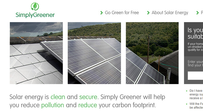simply greener website screenshot
