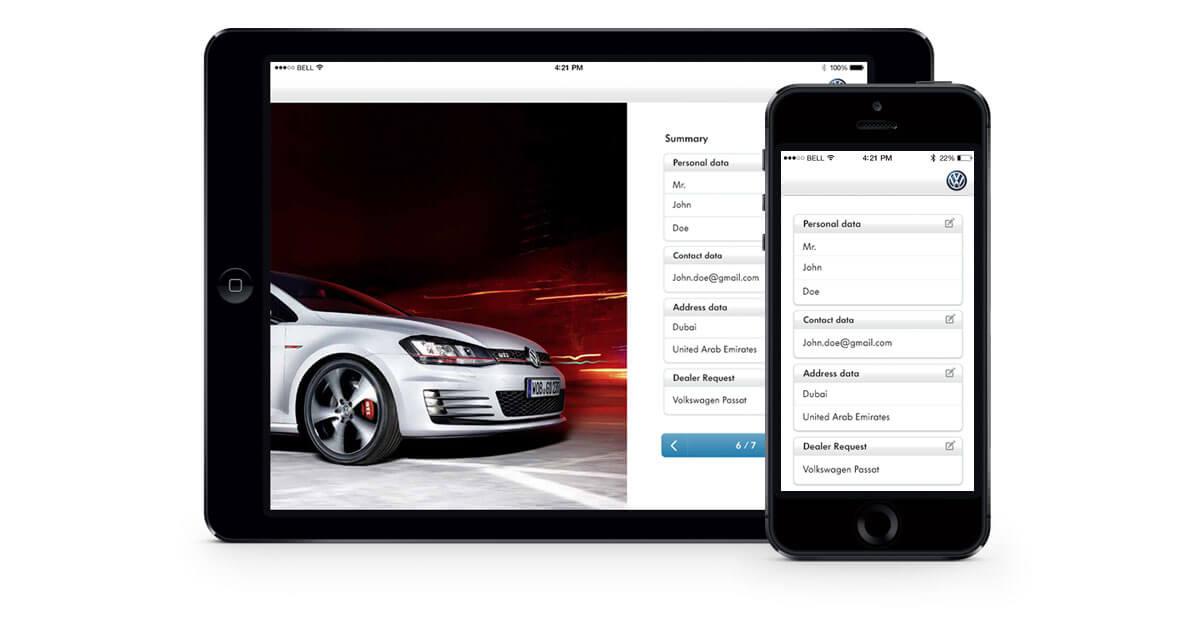 volkswagen dealer app mockups