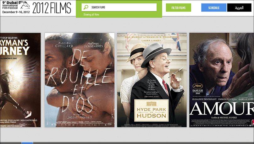 Dubai international film festival website mockup