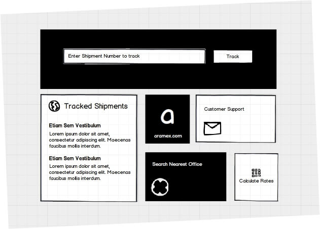 aramex windows app wireframe