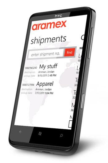 aramex windows phone app mockup