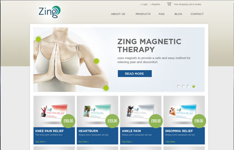 zing online shop website design