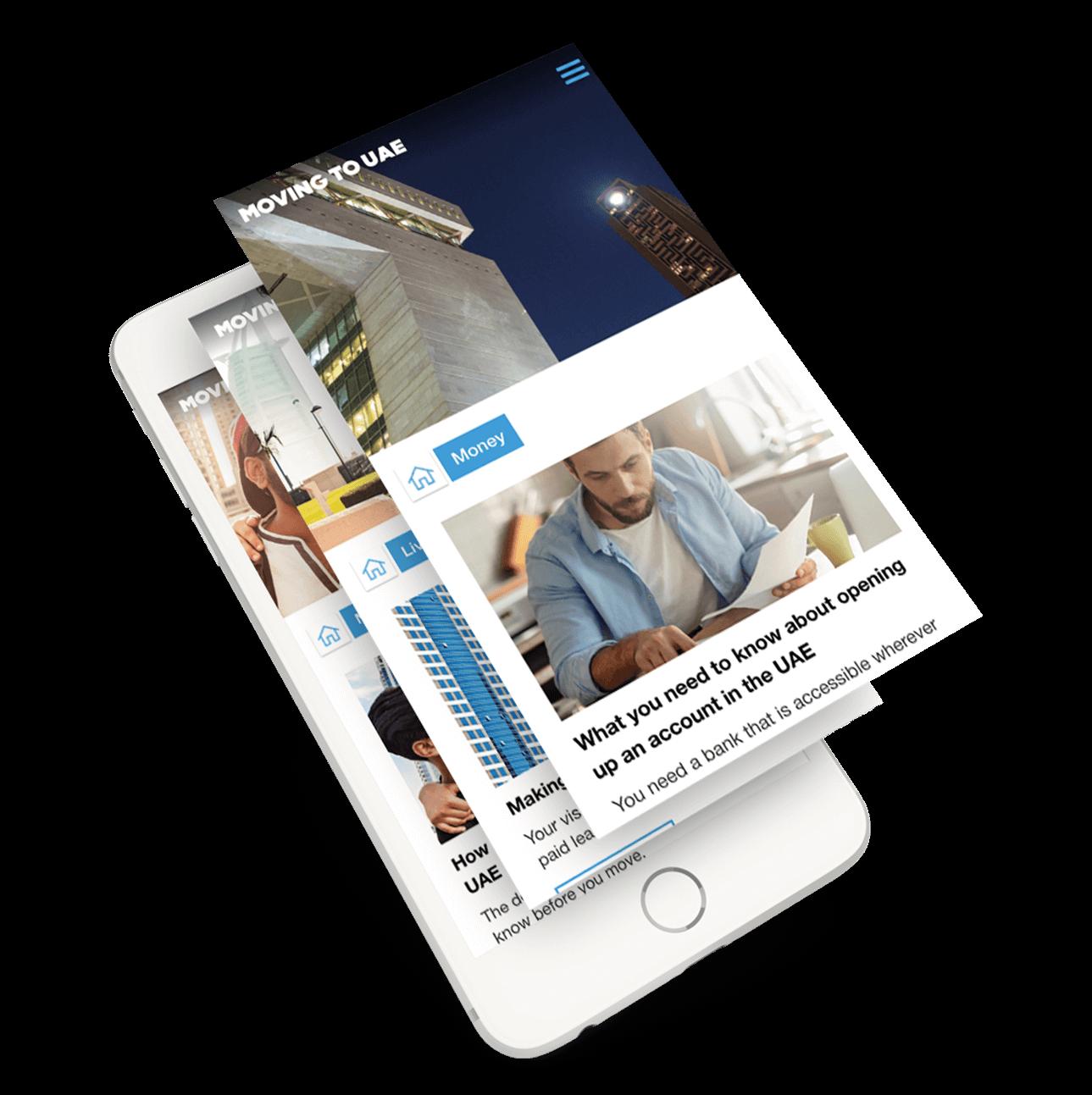 CBD content microsite mobile phone mockup