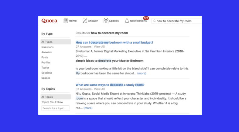 quora used for content ideation