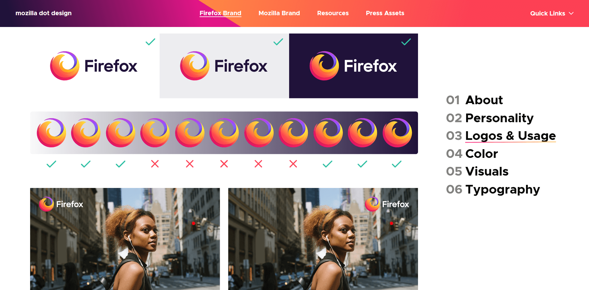 Firefox brand style guide logo usage
