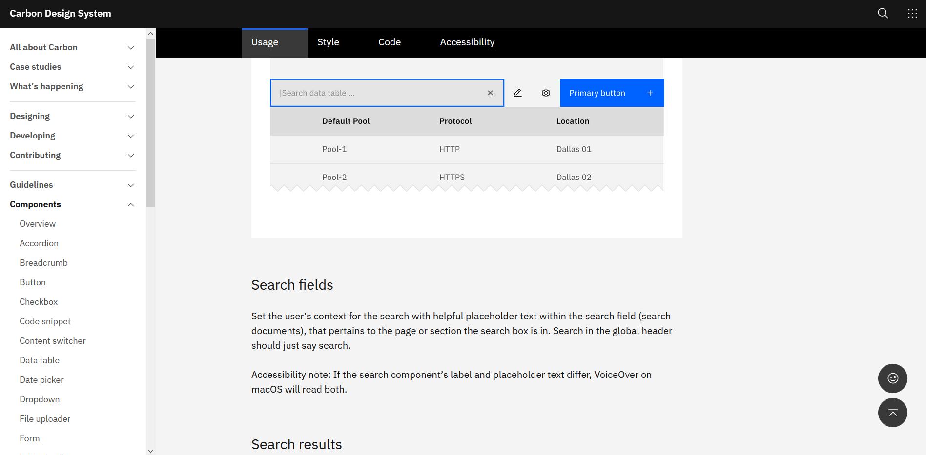 IBM Carbon Design System search bar