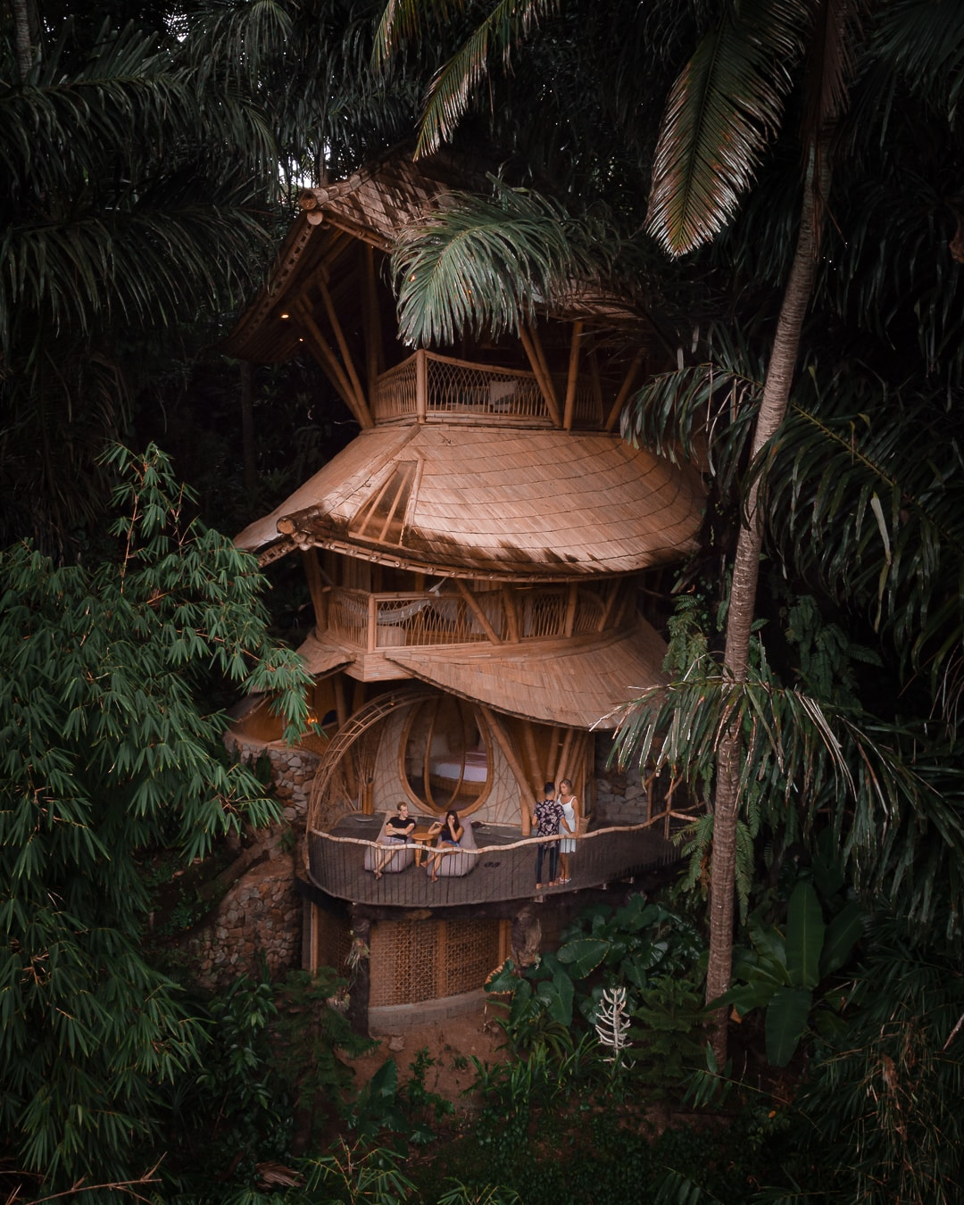 A drone picture from the famous Aura House in Bali, Indonesia.