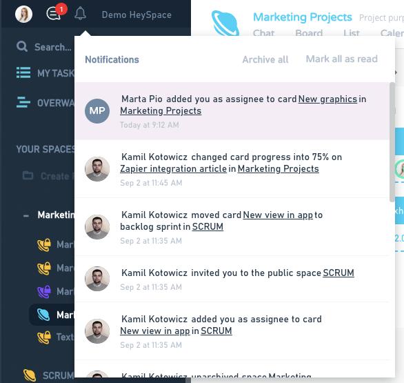 HeySpace notifications