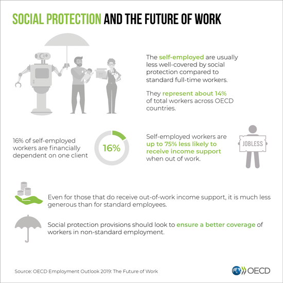 (Exhibit 7 Social protection status, Source: OECD 2019)‍