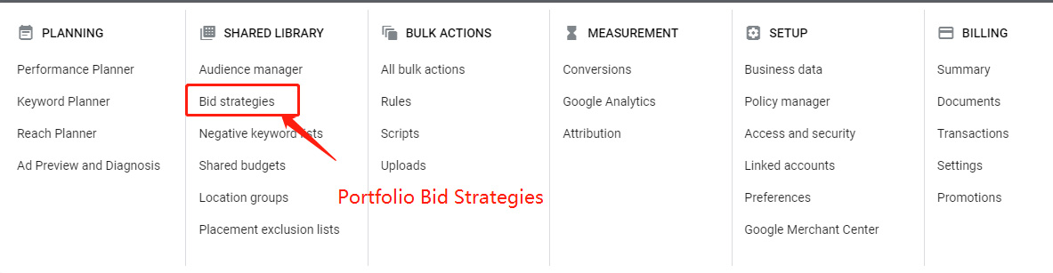Portfolio Bid Strategies Entry in the top menu | DEANLONG.io Marketing