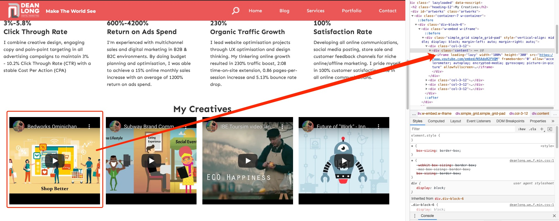 Using <iframe>tag to embed videos on my portfolio page | DEANLONG.io