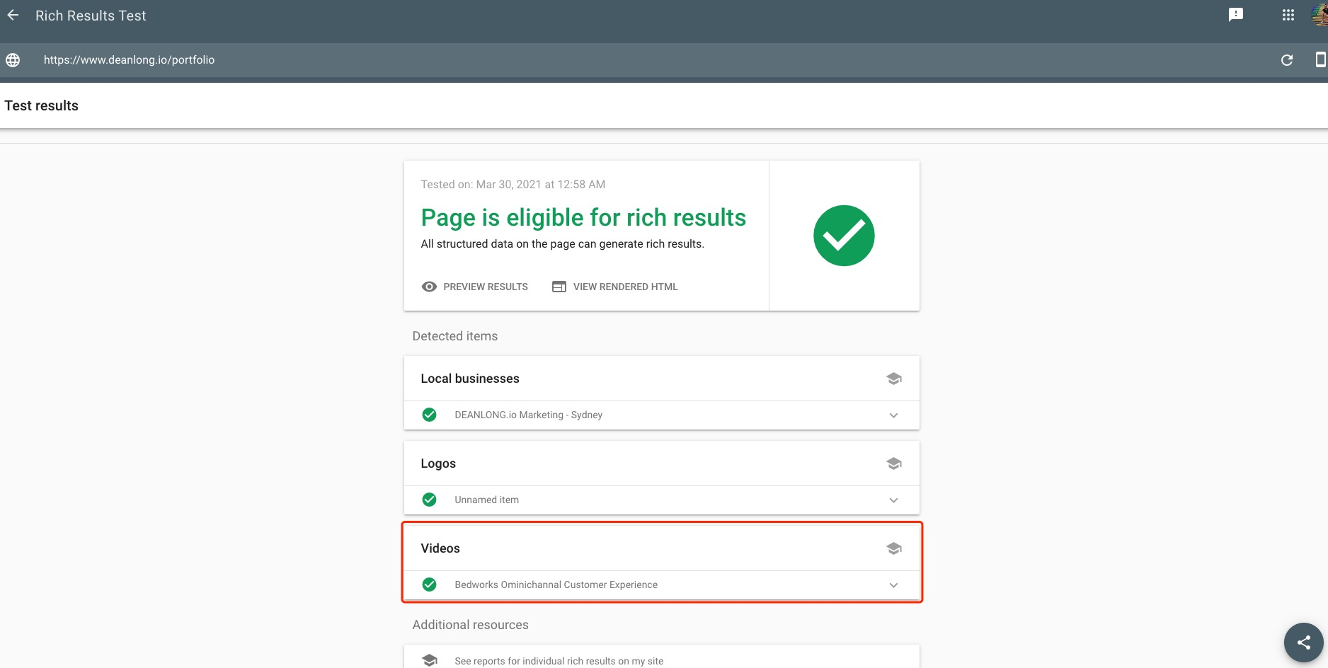 Apply VideoObject Structured Data To My Video Content Page - Rich Results Test | DEANLONG.io