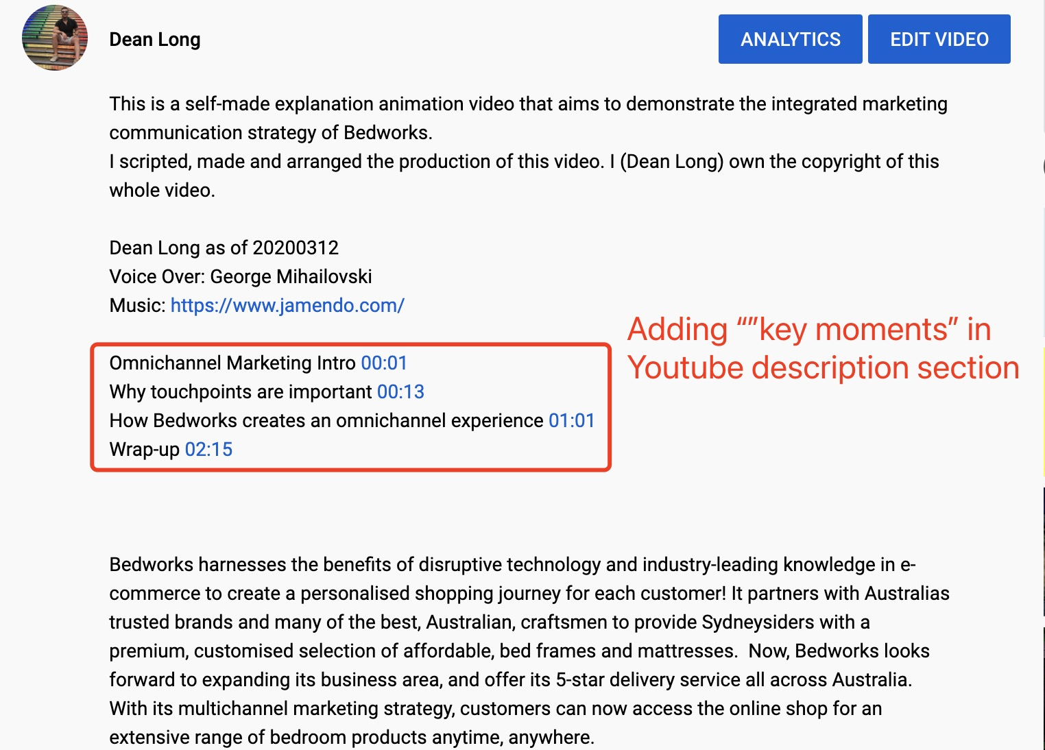 Adding YouTube Timestamp Links in My Video Description | DEANLONG.io