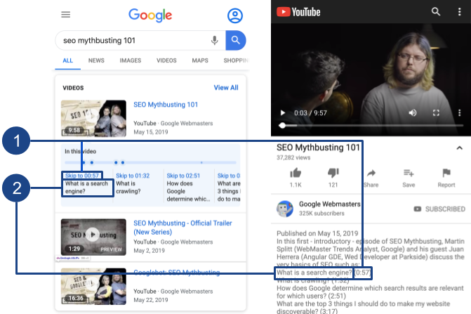 """Google """"Key Moment"""" SERP Feature & Youtube Adding YouTube Timestamp Links Demo 