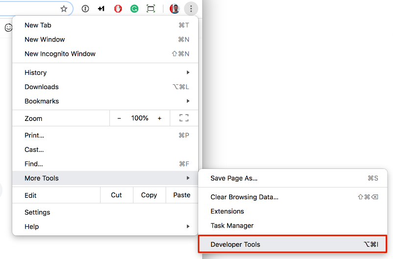 Image of how to open Chrome developer tools via icon on the upper right connor | DEANLONG.io