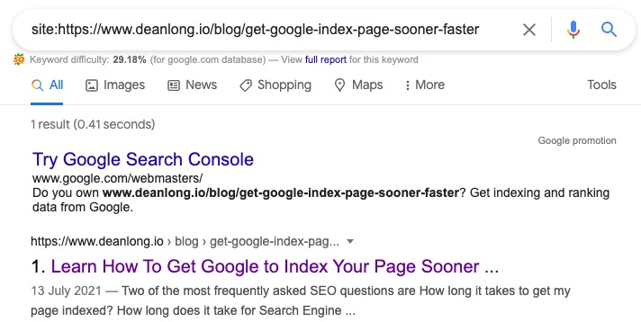 Search result using site search operator to look for the current page | DEANLONG.io