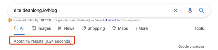 using site:deanlong.io/blog search operator to check ow many pages are indexed by Google   DEANLONG.io