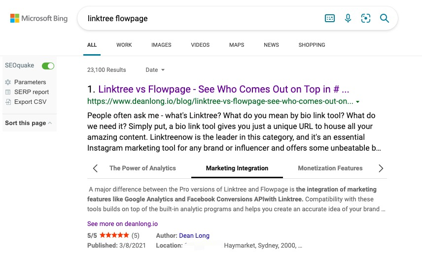 One of the blog post from DEANLONG.io ranks #1 in Bing.com with many rrich snippets   DEANLONG