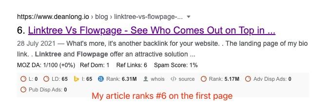 An Google SERP shows DEANLONG.io 's article ranks #6 in Google.com   DEANLONG.io