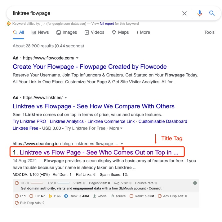 A Google Search Result with Highlight In A TItile Tag   DEANLONG.io