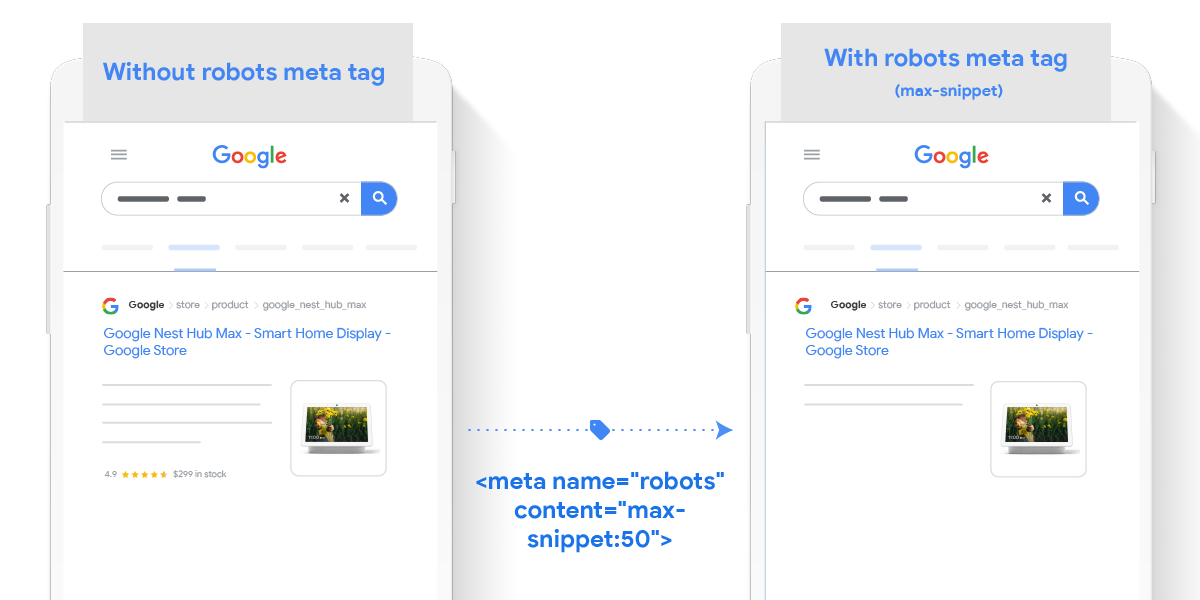 max-snippet:[number] specify your snippet length - Example from Google