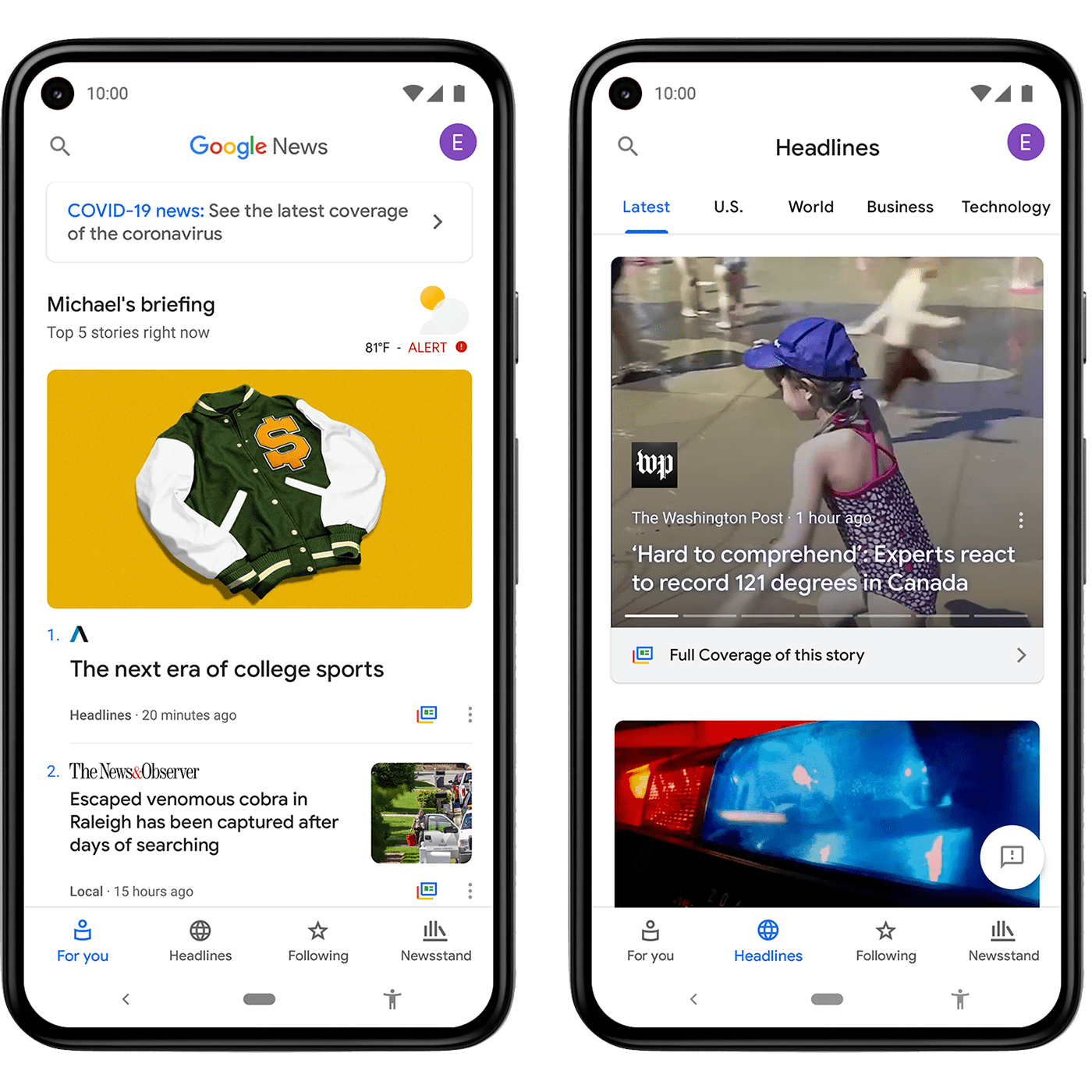Two mobile version of screenshots to show Google News Placements
