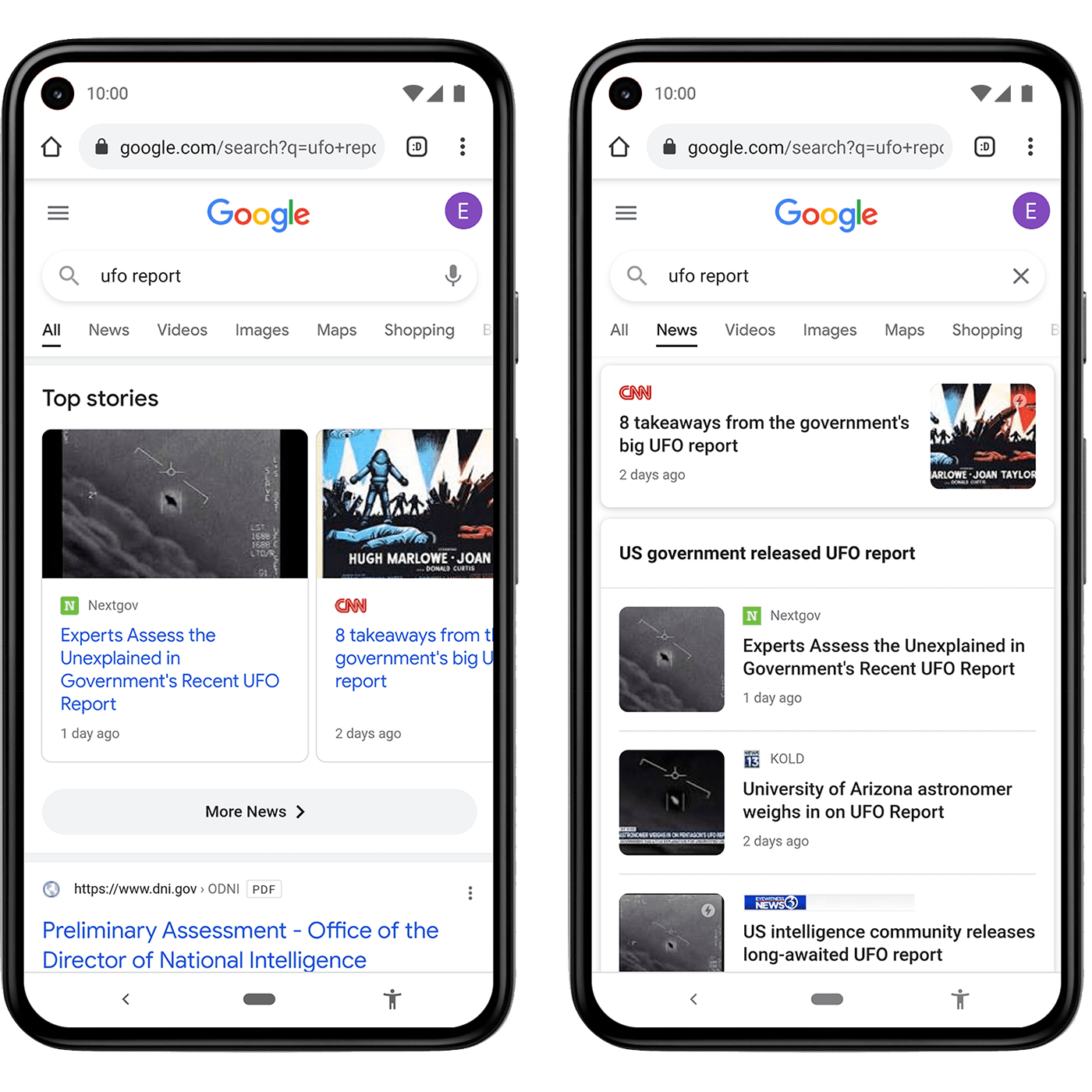 Google News shows as carousel at the top of search result or as list in Google News tab