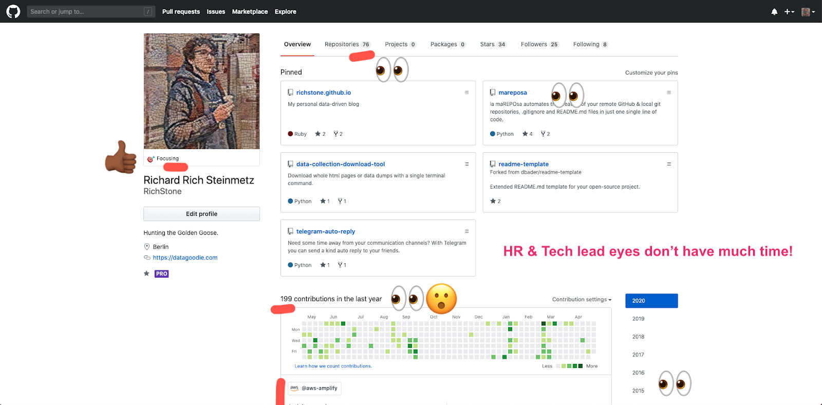 GitHub foto showing how employers view your profile